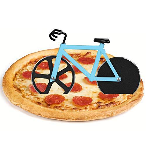 flintronic Pizzaschneider Fahrrad, Edelstahl Räder Pizza Schneider Zwei Edelstahl-Schneidräder mit einem Displayständer für Weihnachten Party Geschenke Interessantes Weihnachtengeschenk-Blau