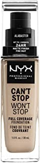 Nyx Professional Makeup Can't Stop Won't Stop Full Coverage Foundation, Alabaster, 1.0 Ounce