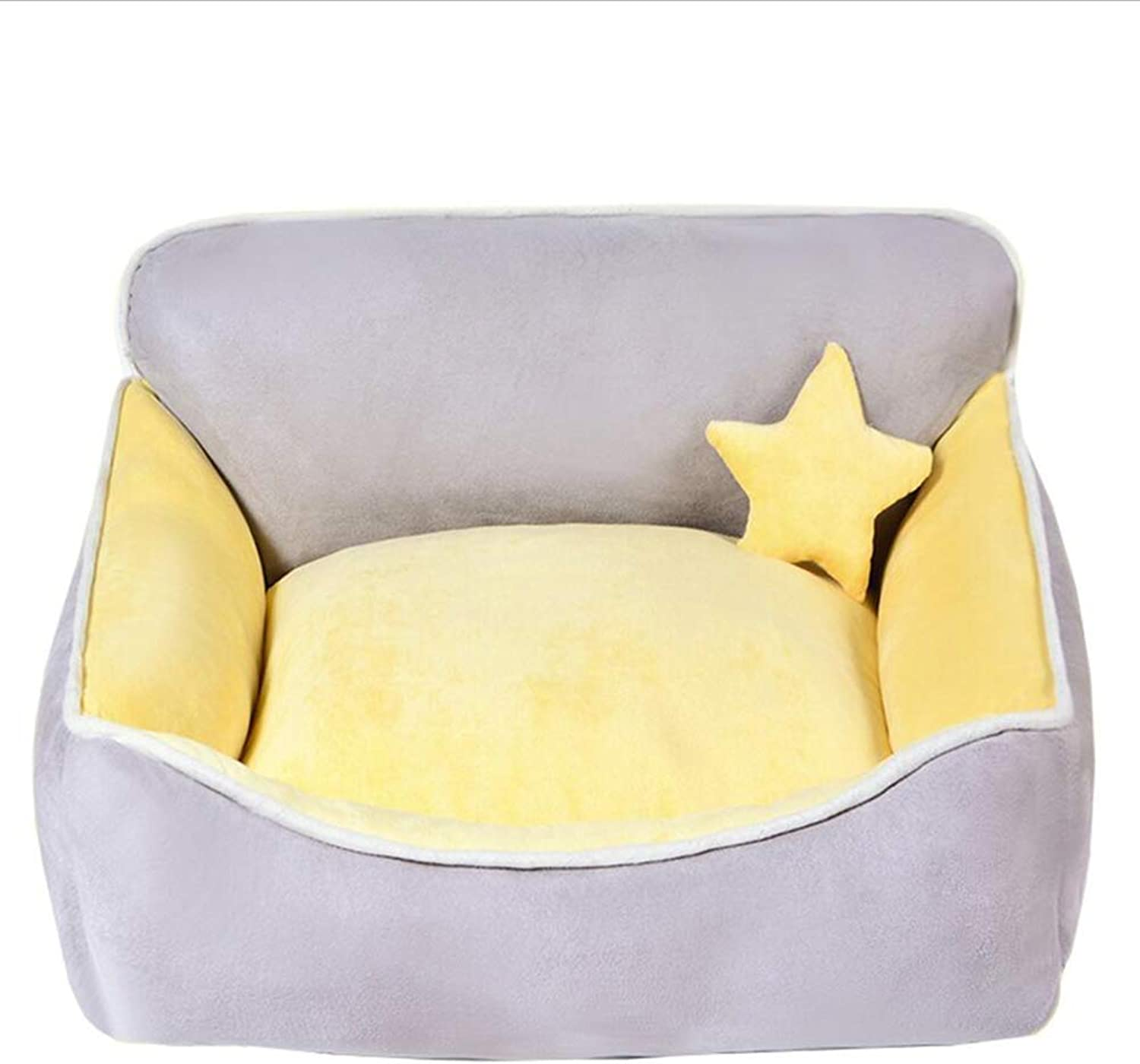 Pet Nest Pet Sofa Pet Bed Cat Nest Kennel Dog Nest Cat Kennel Indoor Removable and Washable Four Seasons Universal Haiming (color   Yellow, Size   S)