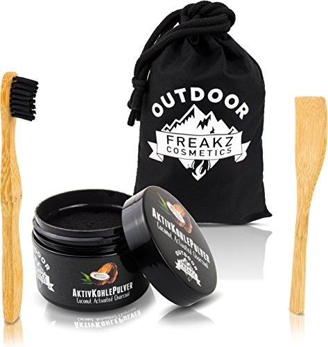 Premium Kokosnuss Aktivkohle Pulver 100% rein zur natürlichen Zahnaufhellung + Bambus Zahnbürste + Bambus Schaufel + Bambusbeutel