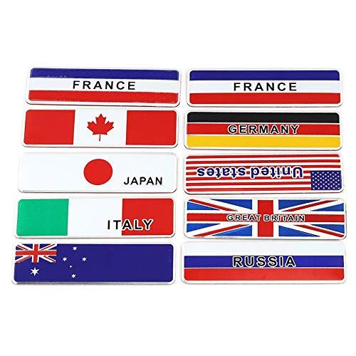 Logotipo de la capucha Francia Gran Bretaña Italia Rusia Alemania Japón Estados Unidos Canadá Australia Bandera nacional Etiqueta engomada del automóvil Emblema 3D Calcomanías Insignia de coche 3D