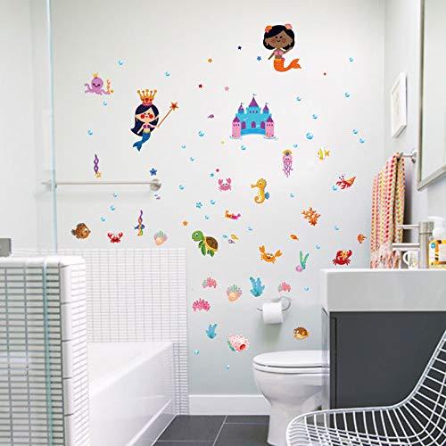 Wall Sticker Cartoon Underwater Castle Mermaid Children for Kids Girls Rooms Bathroom Tile Decals Home Decorations