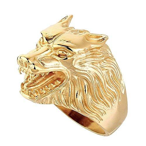 BOBIJOO JEWELRY - Anillo Anillo Anillo de Hombre con Cabeza de Lobo Clan de la Fuerza de los Animales de Acero Inoxidable de Oro de Oro - 31 (14 US), Dorado - Acero Inoxidable 316