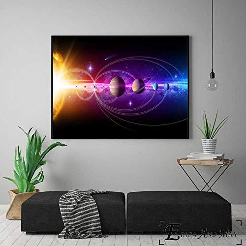 jzxjzx Unser Sonnensystem 8D Kunstwerk Leinwand Malerei Poster Und Drucke Für Wohnzimmer Keine Gerahmte Wandkunst Dekoration Bild Wohnkultur