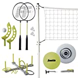 Franklin Sports Fun 5 Combo Set - Badminton, Volleyball with Pump, Ring Toss,...