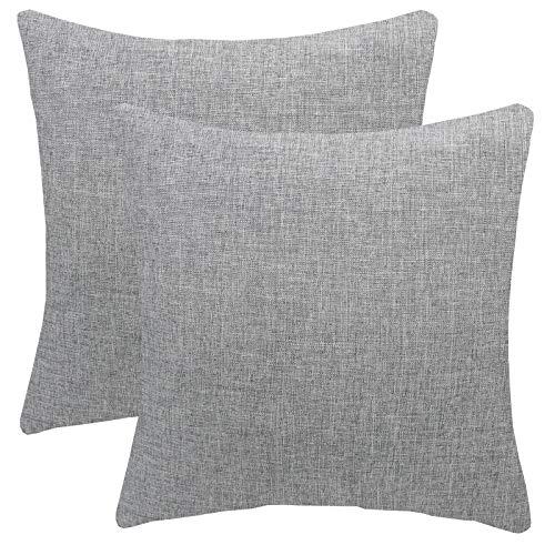 FYJS Confezione da 2 federe in morbido lino artificiale Decorazioni per la casa Fodera per cuscino quadrato per divano camera da letto 45x45cm,Grigio chiaro