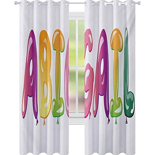 YUAZHOQI Abigail Cortina opaca para ventana con nombre femenino colorido con letras históricas de dibujos animados y letras oscuras para dormitorio de niños de 132 x 182 cm, multicolor
