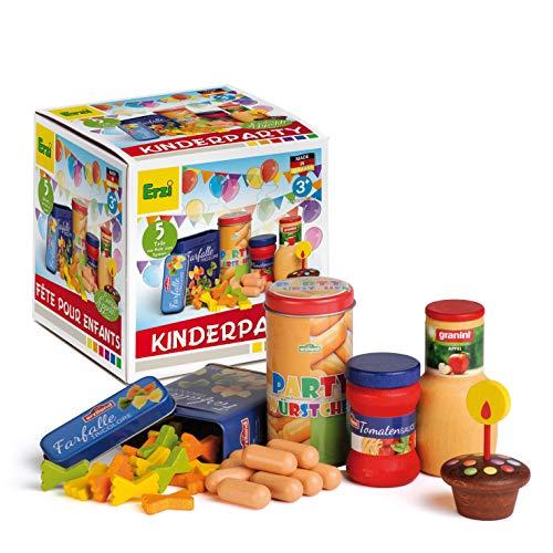 Erzi Große Partyspaß Sortierbox Kinderparty ideal zum feiern Einer Geburtstagsparty | Geburtstagsfeier | oder als Geschenk mit Hochwertigen Spielzeuglebensmittel aus Holz