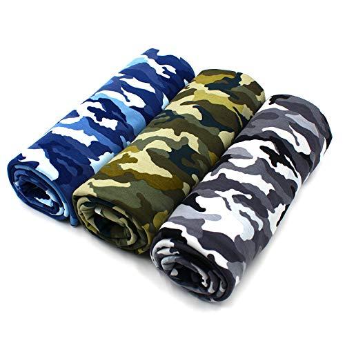 VmG-Store Stoffpaket 3x Jersey je 0,5m zum Nähen von Kinderkleidung Kinderstoff Jerseystoff Paket (Camouflage (Set04))
