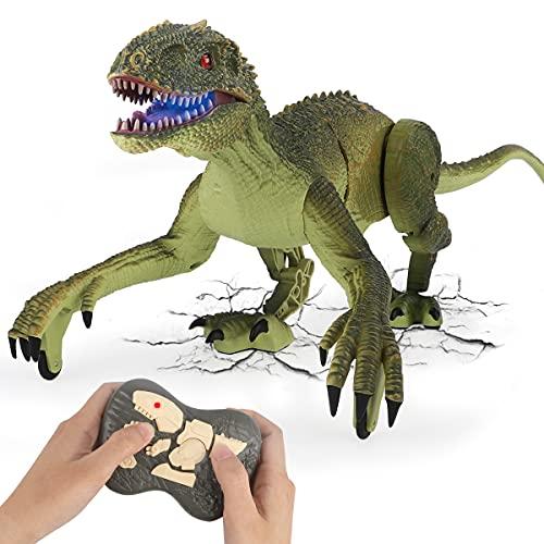GILOBABY Ferngesteuerte Dinosaurier Spielzeug,Velociraptor mit Gehen & simuliertem Brüllen & Kopfschüttelfunktionen,Geschenke für Jungen Mädchen über 3 Jahre(Grün)