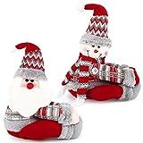 BHGT 2 Hebillas Cortinas Navidad Papá Noel Muñeco de Nieve Ganchos Cortinas Adornos Navideños Colgantes Arbol Navidad Decoración Botella Vino
