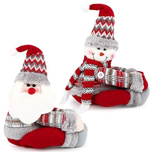 BHGT 2 Hebillas Cortinas Navidad Papá Noel Muñeco de Nieve Ganchos Cortinas Adornos Navideños Colgantes Arbol...