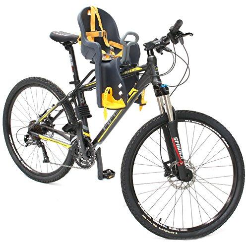 Silla Delantera Bebé Niños para Bicicleta, Asiento Delantero con Agarradero. (Negro/Amarillo)