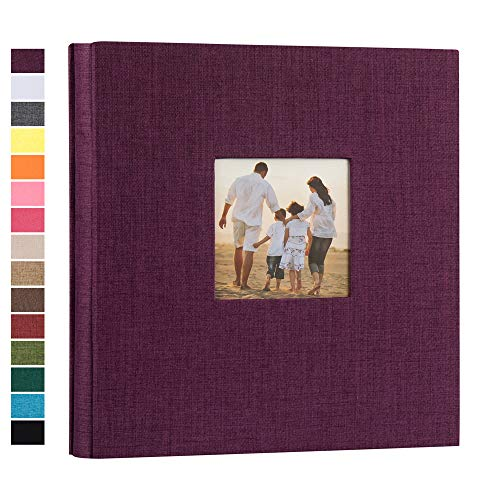 potricher Linen Hardcover Photo Album 4x6 600 Photos Large Capacity for Family Wedding Anniversary Baby Vacation (Purple  600 Pockets)