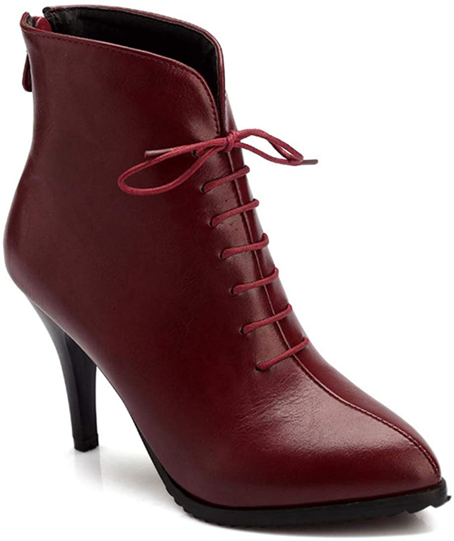 新作続 MISTU Women's Retro Pointed Toe Dressy Zippe Lace Up 開店祝い Ankle Boots