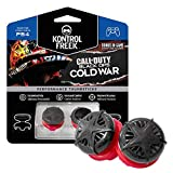 KontrolFreek Call of Duty: Black Ops Cold War para PlayStation 4 (PS4) y PlayStation 5 (PS5) | Performance Thumbsticks | 2 Alturas elevadas, convexo | Negro/Rojo.