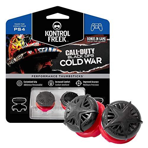 KontrolFreek Call of Duty: Black Ops Cold War para PlayStation 4 (PS4) y PlayStation 5 (PS5)   Performance Thumbsticks   2 Alturas elevadas, convexo   Negro/Rojo.