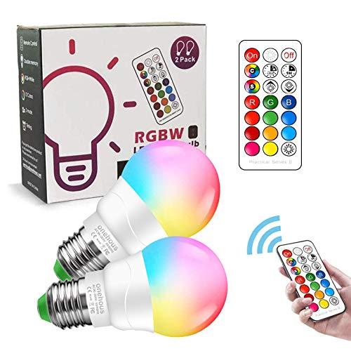 Bombilla LED E27, 6W Regulable Cambio de RGB Color Mando a Distancia Bombillas LED (Equivalente 40W), 2700K, Función de Temporización y Memoria Bombilla para Hogar Decoración, Bar, Fiesta, 2 unidades