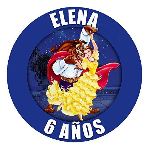 OBLEA de Papel de azúcar Personalizada, 19 cm, diseño de Disney La Bella y la Bestia