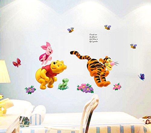 ZuoLan 1pcs PVC Winnie l'ourson sticker mural amovible réutilisable pour Enfants/Garçons/Filles/Décoration Maison Chambre (#E)