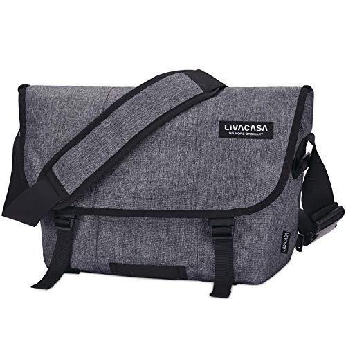 LIVACASA Aktentasche zum Umhängen Wasserdicht Herren Arbeitstasche Groß Studententasche Messenger Bag Laptoptasche 15.6 Zoll Umhängetaschen Herrentasche Laptop Arbeit Business-Tasche Grau