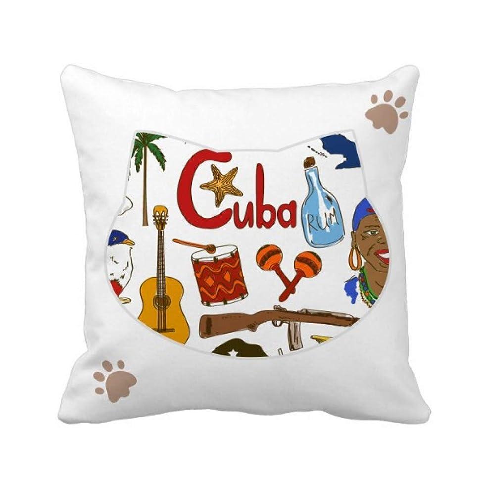 パントリーリスキーな困惑したキューバの風景の動物の国旗 枕カバーを放り投げる猫広場 50cm x 50cm