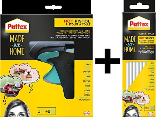 Pattex Heißklebepistole Made at Home / Spar-Set (Klebepistole inkl. 6 Heißklebesticks + 10 Sticks extra)