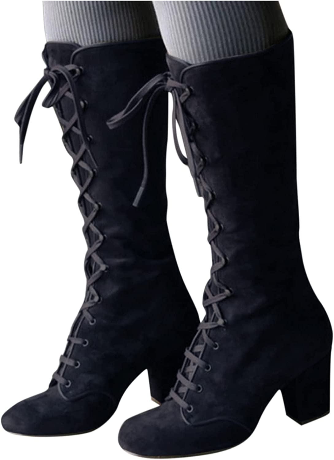 AODONG Cowboy Boots for Women,Low Heel Boots Mid Calf Booties Casual Lace Up Western Platform Boots