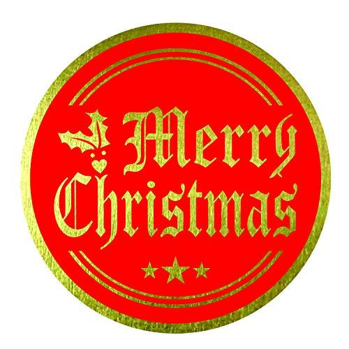 Etiquetas adhesivas de Feliz Navidad (paquete de 120) de 2 pulgadas con sello de lámina de oro en rojo para tarjetas sobres de regalo cajas
