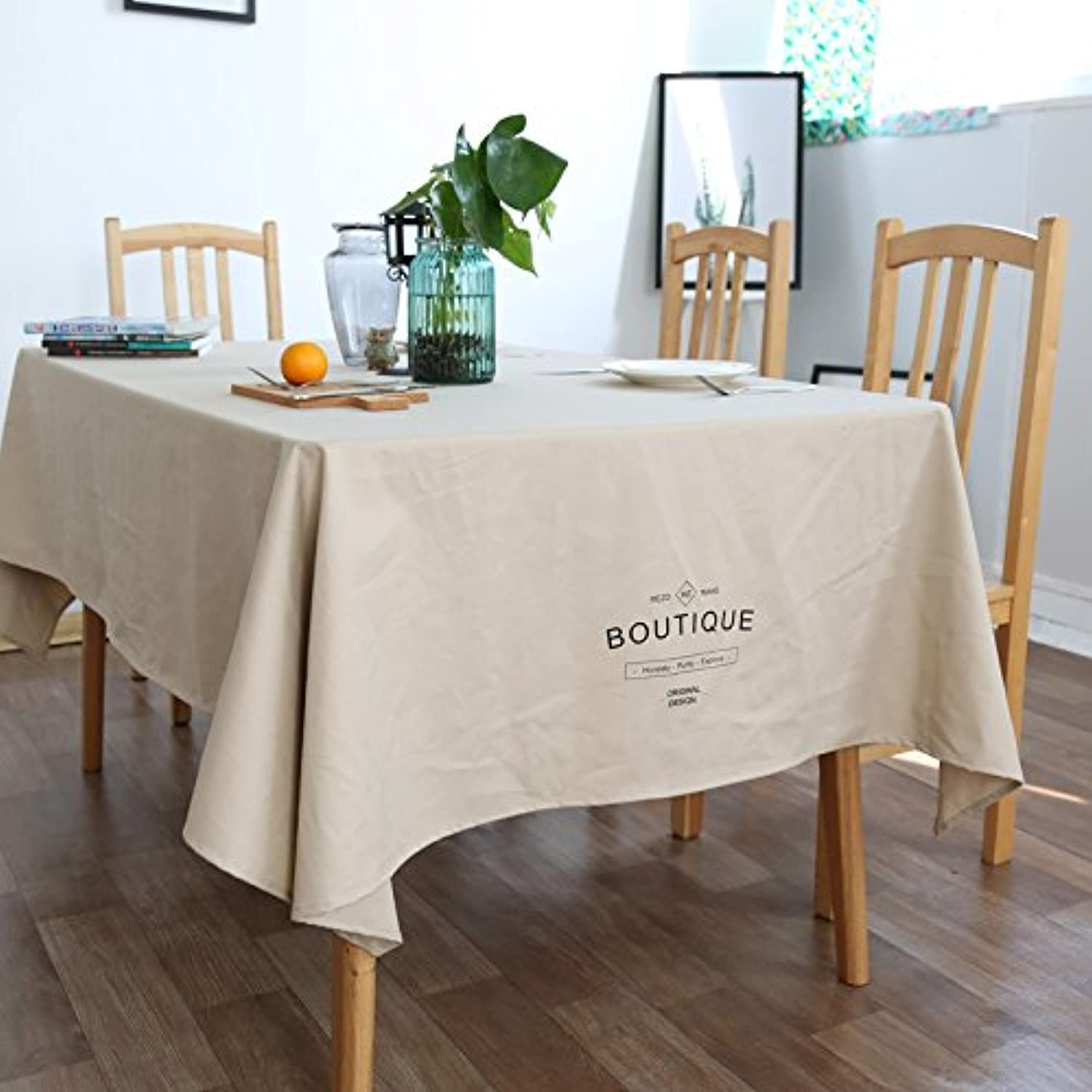 Creek Ywh Cotton Simple Modern Table Table Cloth Solid color English Nordic Fabric Tablecloth Rectangular American Retro Dining Tablecloth, Khaki, 140180cm