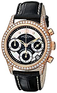 Armand Nicolet Women's 7154V-NN-P915NR8 M03 Classic 18k Rose-Gold and Diamond Watch With Black-Leather Band