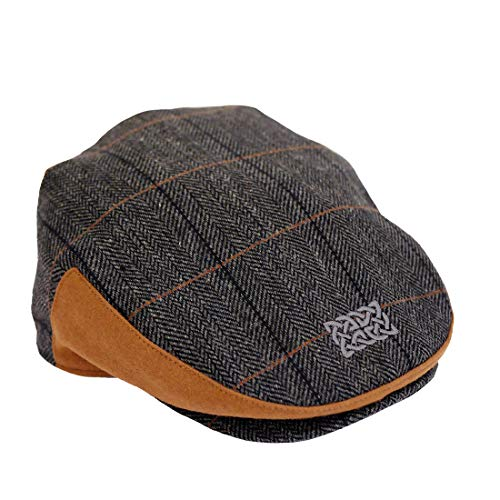 Patrick Francis Irish Kids Flat Cap Grey Tweed Hat with Celtic Knot for Boys (Large)