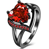 BEMI Romantic Black Gold Plated Promise Band Ring Wedding Red Heart Cubic Zirconia Rings for Women 8