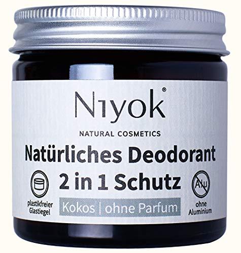 Niyok® 2 in 1 Deo ohne Aluminium Antitranspirant Deocreme Deodorant Creme | Damen | Herren gegen starkes Schwitzen aluminiumfrei - Kokos ohne Parfum – 40ml