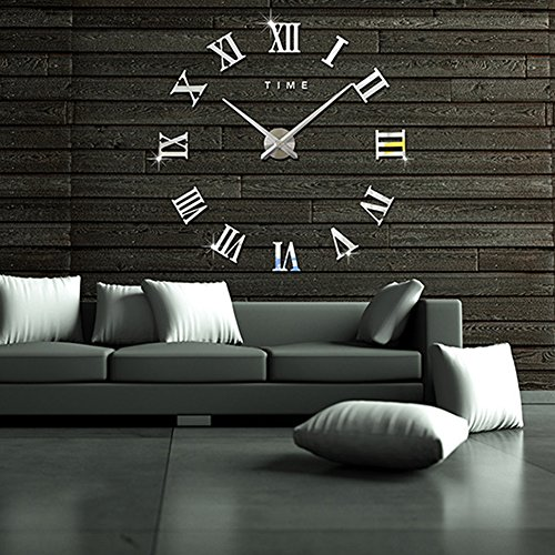 Topkey Large Big DIY 3D Wall Clock Decal Stickers Roman Numerals Wall Clock Home Office Removable Decoration (Battery NOT Included) Silver