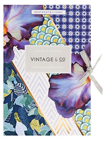 Vintage thee vlechten en bloeit lade liners, meerkleurig, pak van 6