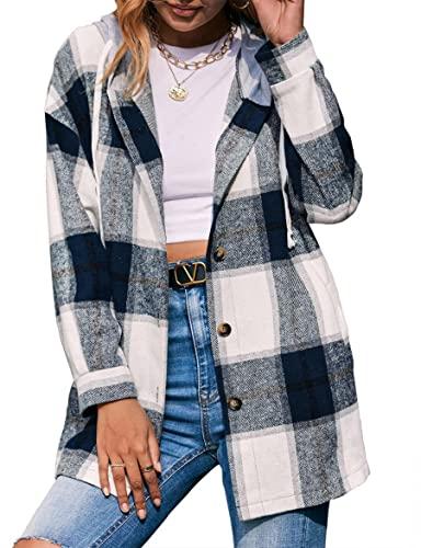 WBYFDC Cárdigan Camisa a Cuadros Chaqueta Con Capucha Suelta Casual Camisas De Bloque De Color Para Mujer Abrigo Botón Blusa De Bolsillos De Manga Larga