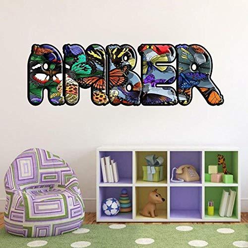 YJYG Pegatinas de pared Mariposa nombre personalizado calcomanía etiqueta de la pared decoración del hogar arte mural chica Halloween gift 50 * 70cm