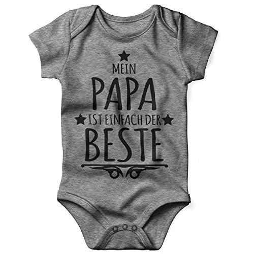 Mikalino Babybody mit Spruch für Jungen Mädchen Unisex Kurzarm Mein Papa ist einfach der Beste | handbedruckt in Deutschland | Handmade with Love, Farbe:Heather, Grösse:56