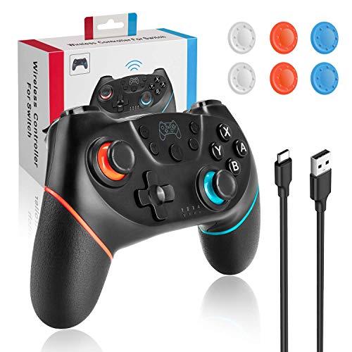MUSCCCM Wireless Controller für Nintendo Switch, Wireless Gamepad mit einstellbarer Turbo Dual Shock Gyro Axis Fernbedienung für Nintendo Switch PS3 PC