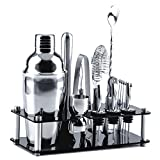 Cocktail Shaker Set 18 Pcs Bartender Kit with Stand Stainless Steel Bar Tools 25 OZ Drink Mixer with...