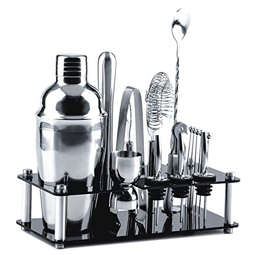 Cocktail Shaker Set 18 Pcs Bartender Kit with Stand Stainless Steel Bar Tools 25 OZ Drink Mixer with Strainer, Spoon, Jigger, Pourers, Muddler, Ice Tongs, Corkscrew, Opener, Cocktail Picks