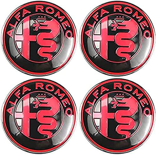 auspilybiber 4 Piezas de 60 mm, tapacubos de aleación para el Centro de la Rueda, Tapa a Prueba de Polvo para Llantas de Coche, Compatible con Alfa Romeo, para Tapas de bujes de vehículos