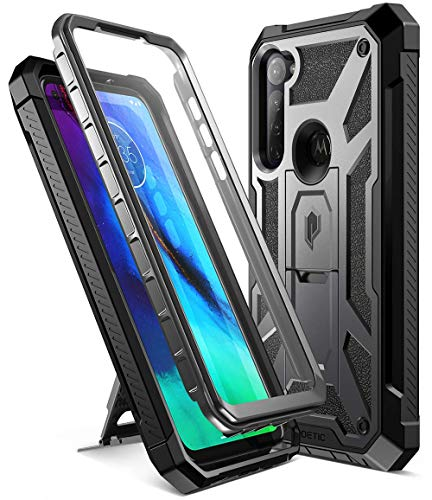 Poetic Spartan Series for Moto G Stylus 2020 Case, (Not Fit 2021 Version), Full-Body Rugged Dual-Layer with Premium Leather Texture Shockproof Protective Cover with Kickstand, Metallic Gun Metal