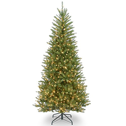 National Tree Company Pre-lit Artificial Christmas Tree | Includes Pre-strung White Lights and Stand | Dunhill Fir Slim - 7.5 ft