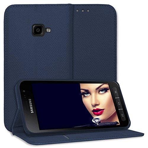 mtb more energy® Schutz-Tasche Bookstyle für Samsung Galaxy Xcover 4, 4S (SM-G390F, G398F / 5.0'') - dunkelblau - Kunstleder - Klapp-Cover Hülle Hülle