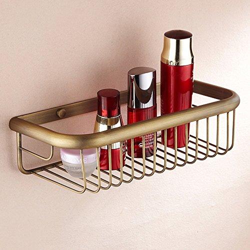 weare Home Baño Accesorios Retro sólido cobre ducha cesta–Organizador de bronce revestimiento pared montaje agarre Bar para cocina, baño accesorios decoración
