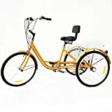 Triciclo para adultos de 3 ruedas, 6 velocidades, con cesta, 6 velocidades, color amarillo