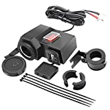 iMESTOU Motorcycle Handlebar USB Phone Charger Adapter 5V 2.1A Dual USB Ports 12V Car Cigarette Lighter Outlet Socket with Waterproof Power Switch
