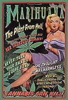 S-RONG雑貨屋 Marijuana Weed Canabis Pinup/Pin Up Sexy Woman Erotic 壁飾り絵30x40cm